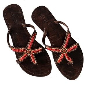 new Mystique ✿ Beaded Starfish Sandal ✿ Red + Gold